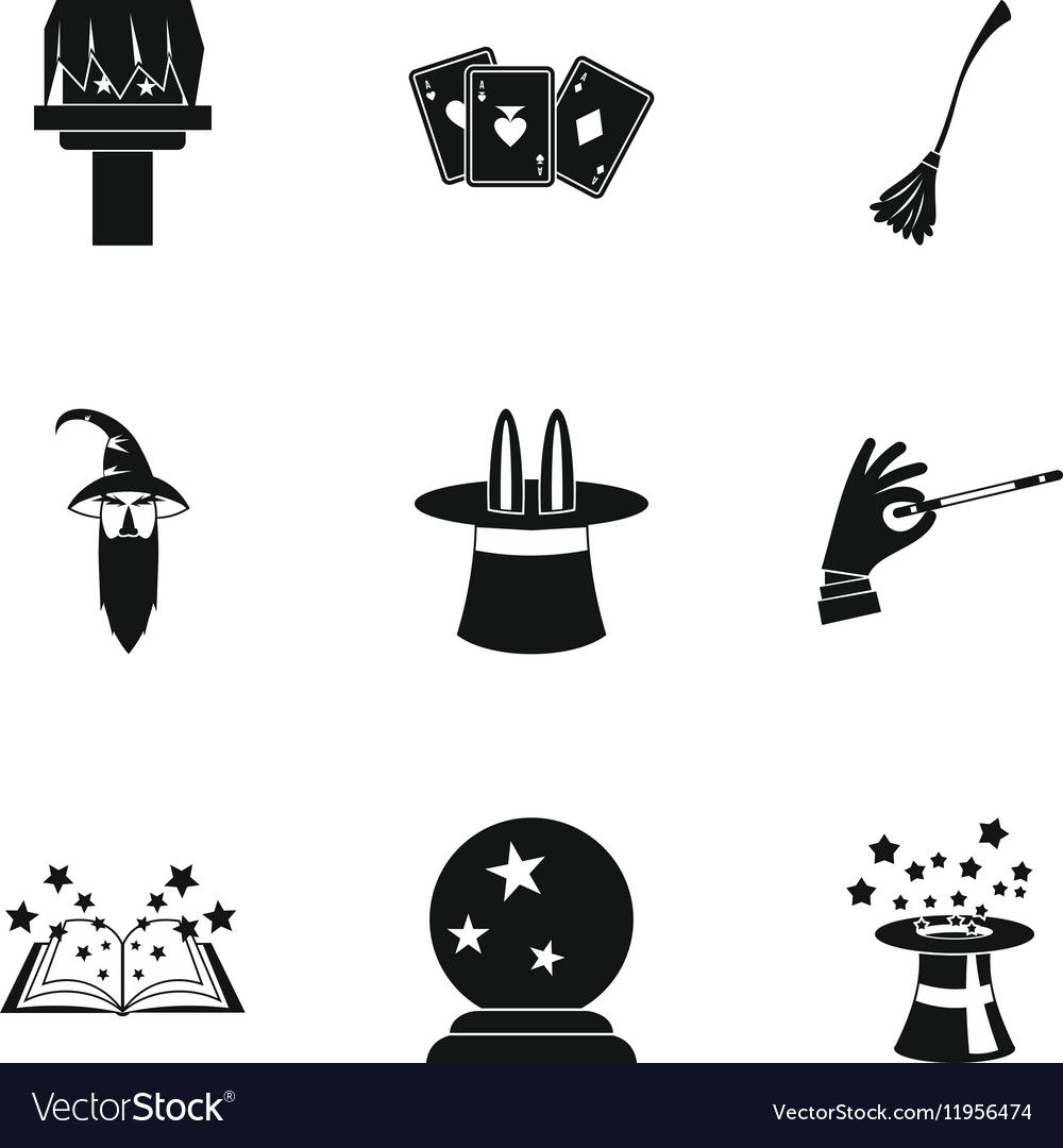Sorcery icons set simple style.