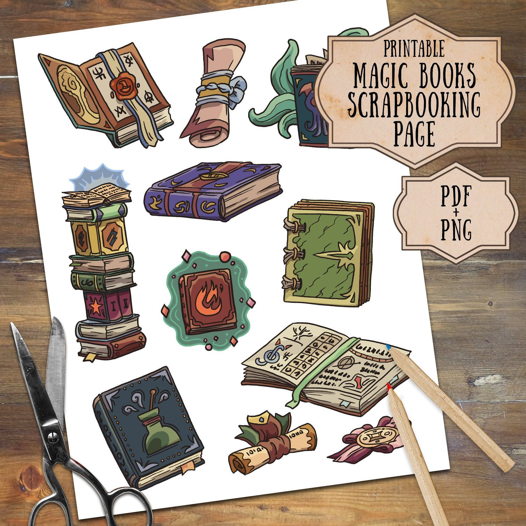 Magic Books and Scrolls Printable Clipart, Digital Clipart.