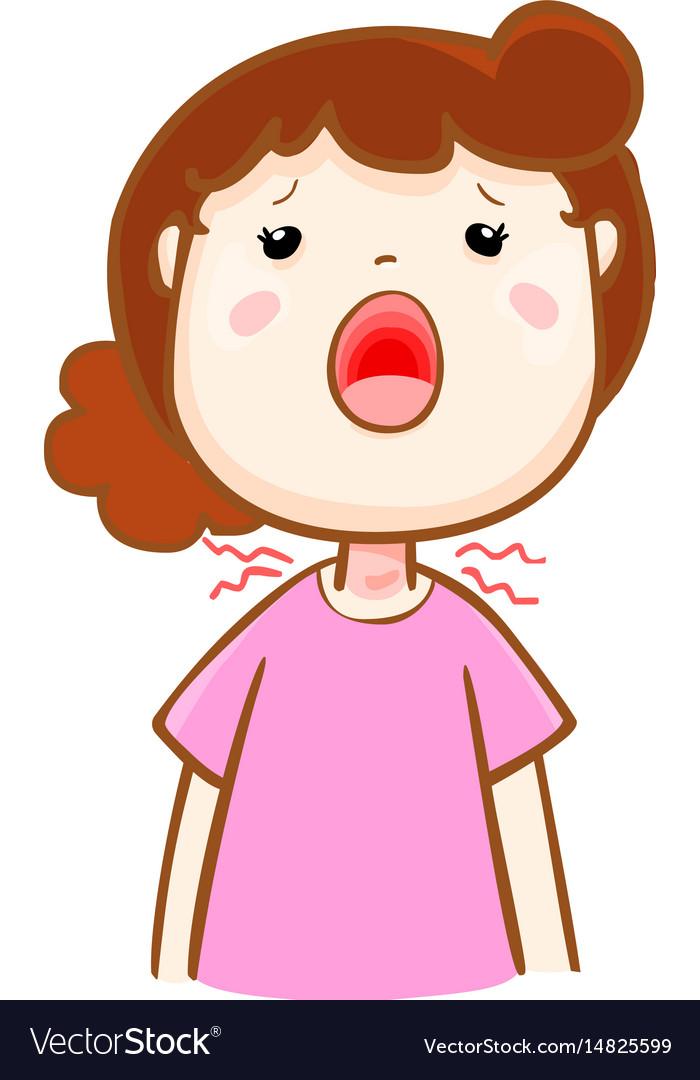 Ill woman sore throat cartoon.