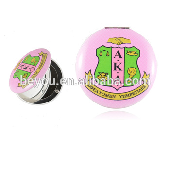 Pink And Green Greek Aka Sorority Logo Custom Makeup Mirror.