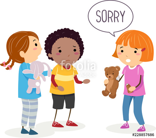 Stickman Kids Broken Toy Sorry Illustration\