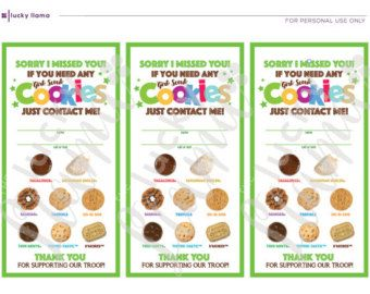 GREEN Girl Scout Cookie Door Signs (Sorry We Missed You.