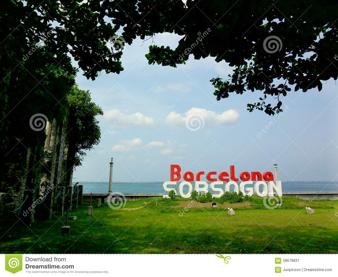 Old Church Ruins And The Barcelona, Sorsogon Sign Stock Photo.