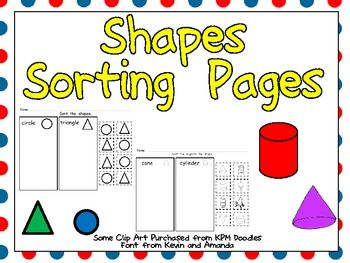 FREE Sorting Shapes Practice Pages.