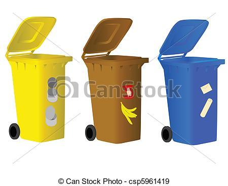 EPS Vectors of Garbage bins for sorting waste.
