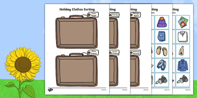 Holiday Clothes Sorting Activity.