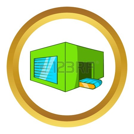 Beer Sorting Plant Vector Icon In Golden Circle, Cartoon Style.