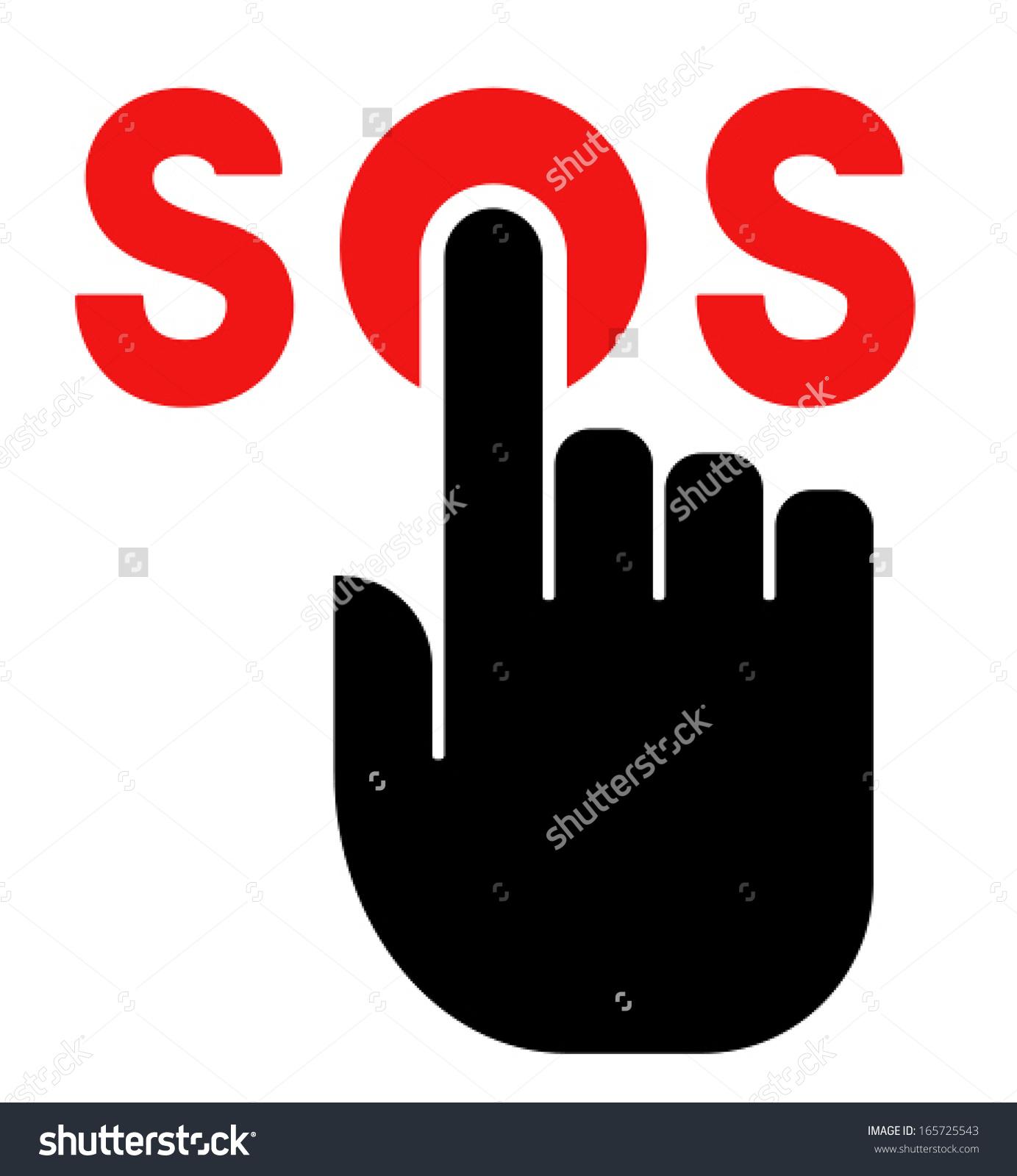Press Sos Button Icon Stock Vector 165725543.