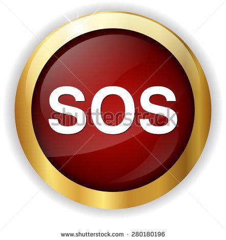 Sos Button Round Sticker Metallic Icon Stock Vector 183784397.