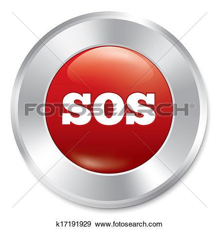 Stock Illustration of Sos button. Metallic icon on white.