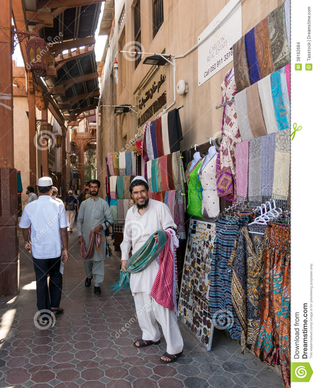 Sellers In Textile Souk In Bur Dubai Editorial Stock Image.