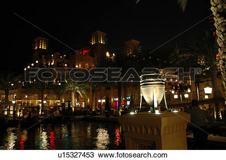 Stock Photo of madinat, jumeirah, dubai, souk, market, night.