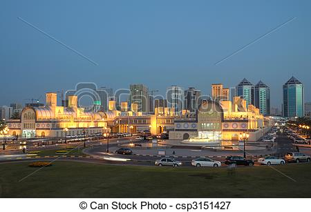 Picture of Central Souk (market) in Sharjah City at dusk, United.