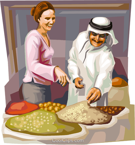 Arab region souk market Royalty Free Vector Clip Art illustration.