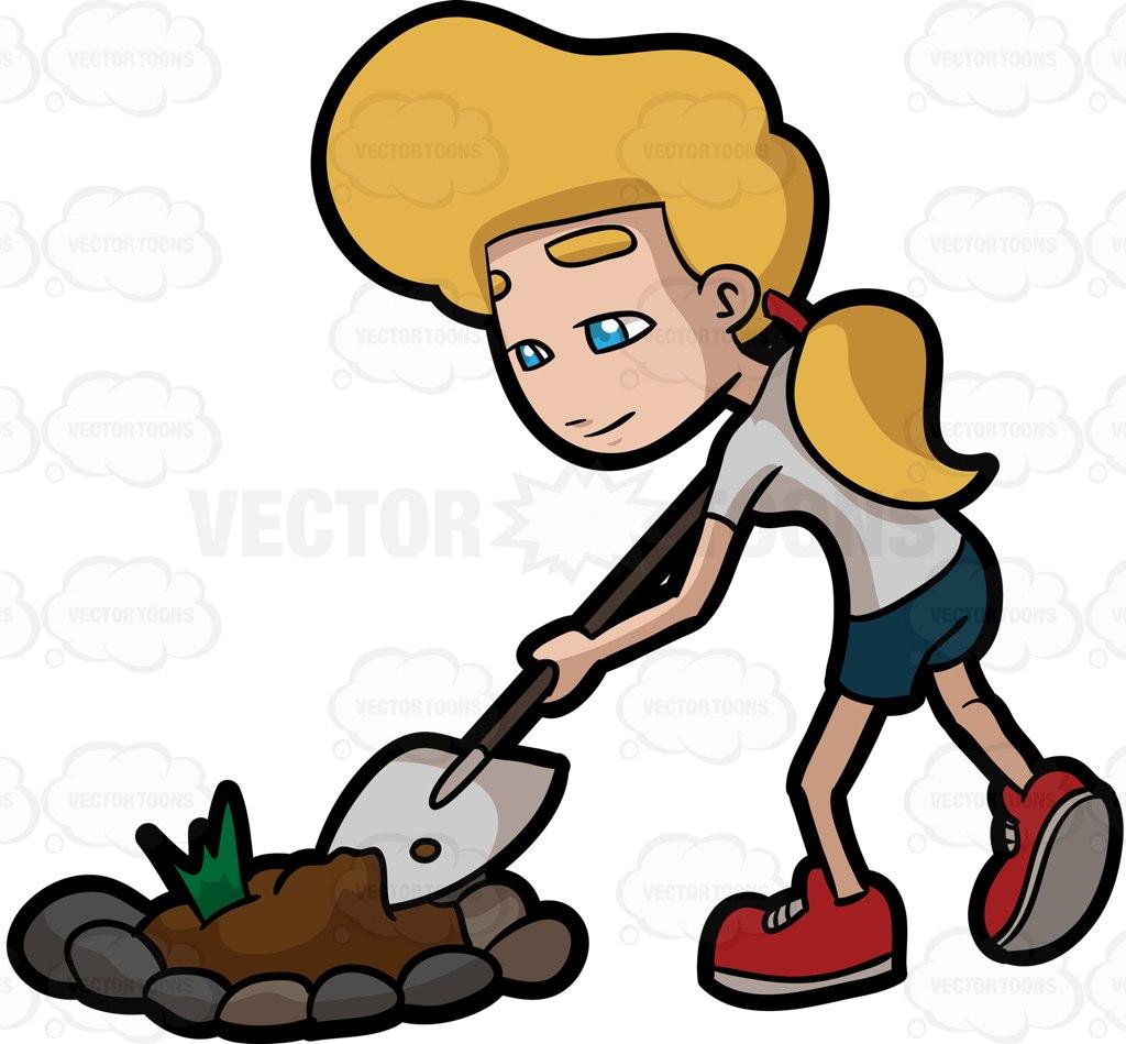 A Woman Digging A Bulk Of Soil From A Garden Patch Cartoon Clipart.