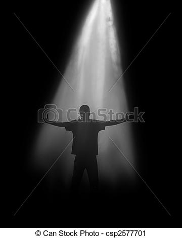 Clipart of Soul of the person on a black background under light.