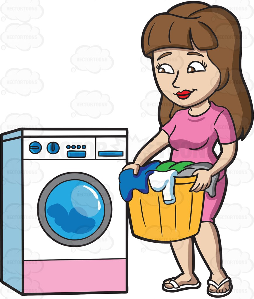 A Woman Waiting For Her Load Of Laundry To Finish Cartoon Clipart.
