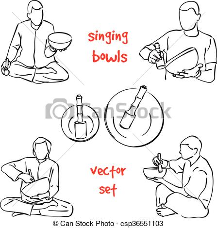 Vector Clipart of Singing bowls musician set.