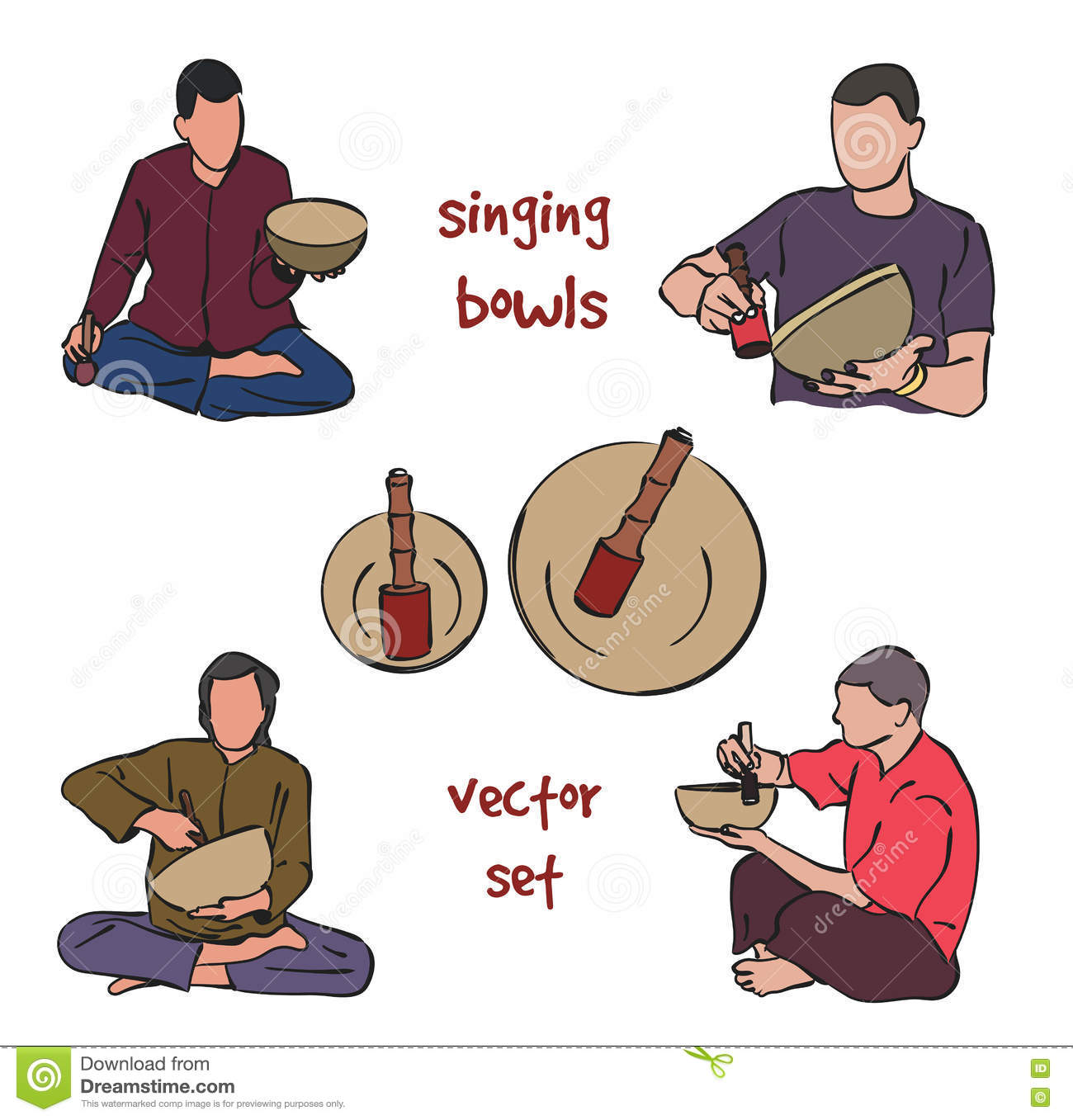 Singing Bowls Musician Set Stock Vector.