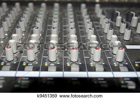 Stock Photograph of sound editing console sliders k9451359.