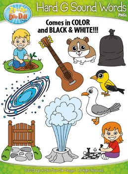 Hard G Sound Phonics Words Clipart Set — Includes 20 Graphics.