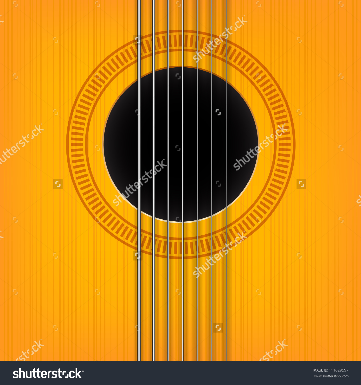 Vector Guitar Sound Hole Background Vertical Stock Vector.
