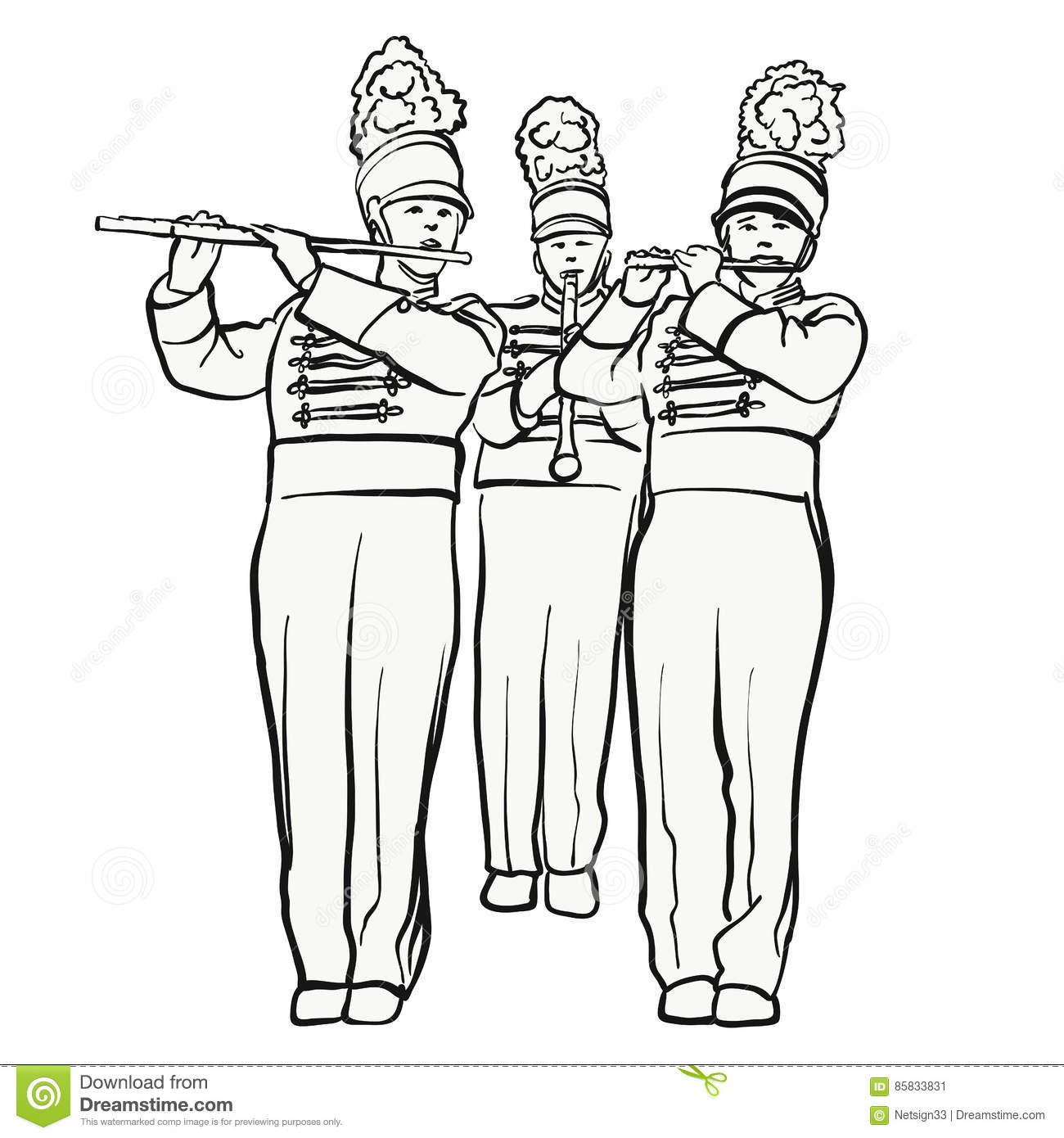 Historical Marching Band With Quiver Flutes, Vector Sketch Stock.