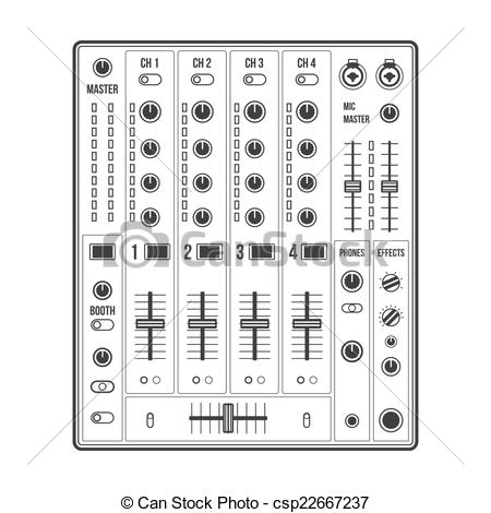 Drawings of outline sound dj mixer.