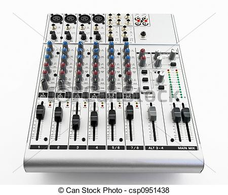Pictures of Silver sound mixer for audio recording on white.