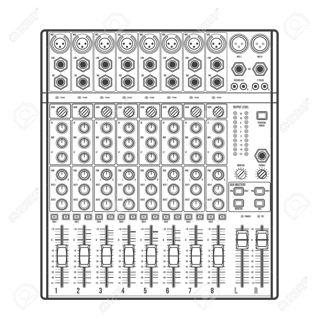 Vector Outline Monochrome Concert Sound Mixer With Knobs Sliders.