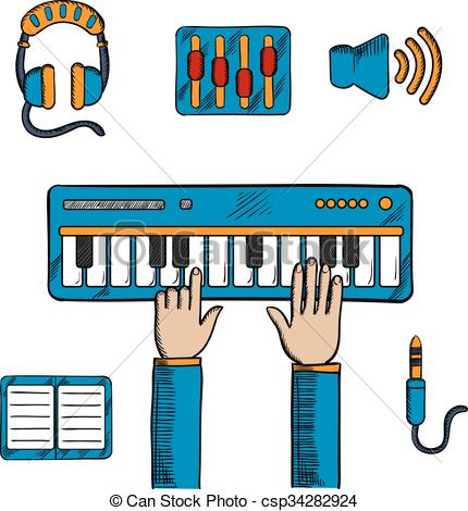 Vector Illustration of Musical and sound recording icons.