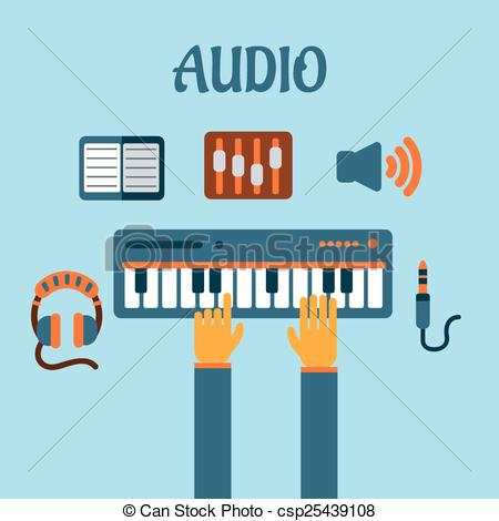 Vector Clipart of Sound recording flat concept with person playing.