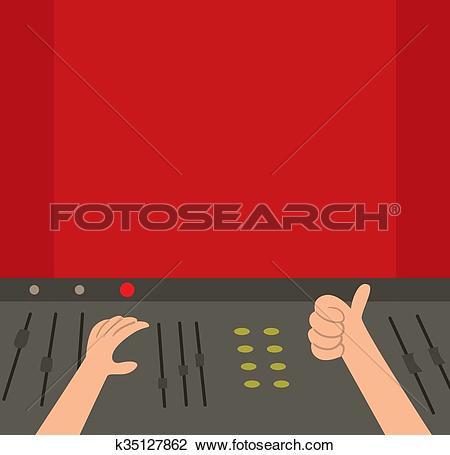 Clipart of Sound recording studio illustration. k35127862.
