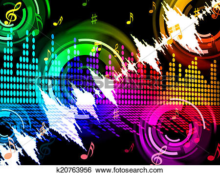 Stock Illustration of Sound Wave Background Shows Beats Spectrum.