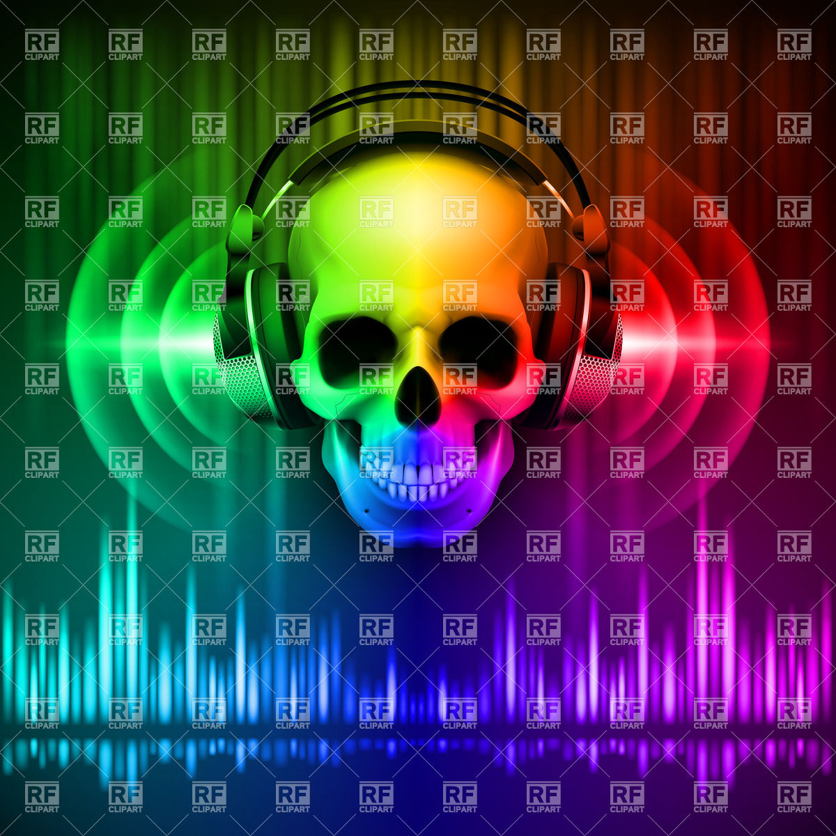 Skull in headphones on spectrum disco background with equalizer.
