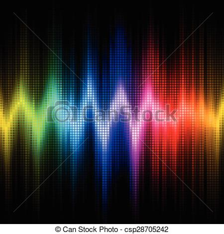 EPS Vector of Sound wave display with visible spectrum colors.