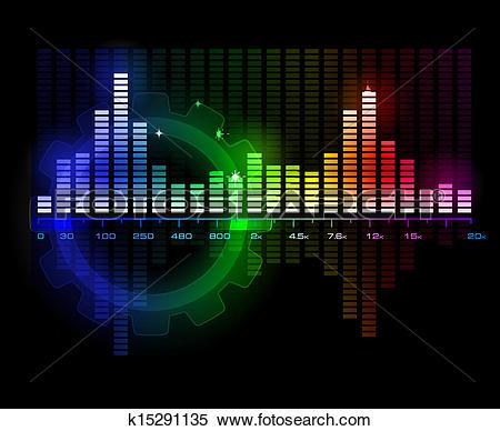 Clipart of Sound Wave Spectrum Analyzer vector k15291135.