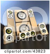 Clipart Illustration of Black Stereo Sound System Speakers by.