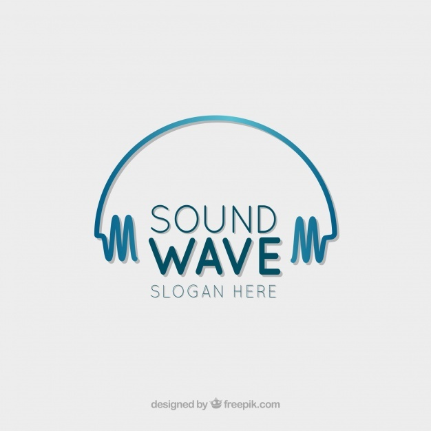 Free Sound wave logo with flat design SVG DXF EPS PNG.