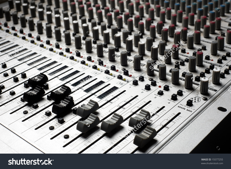 Audio Recording Equipment Soundboard Background Many Stock Photo.