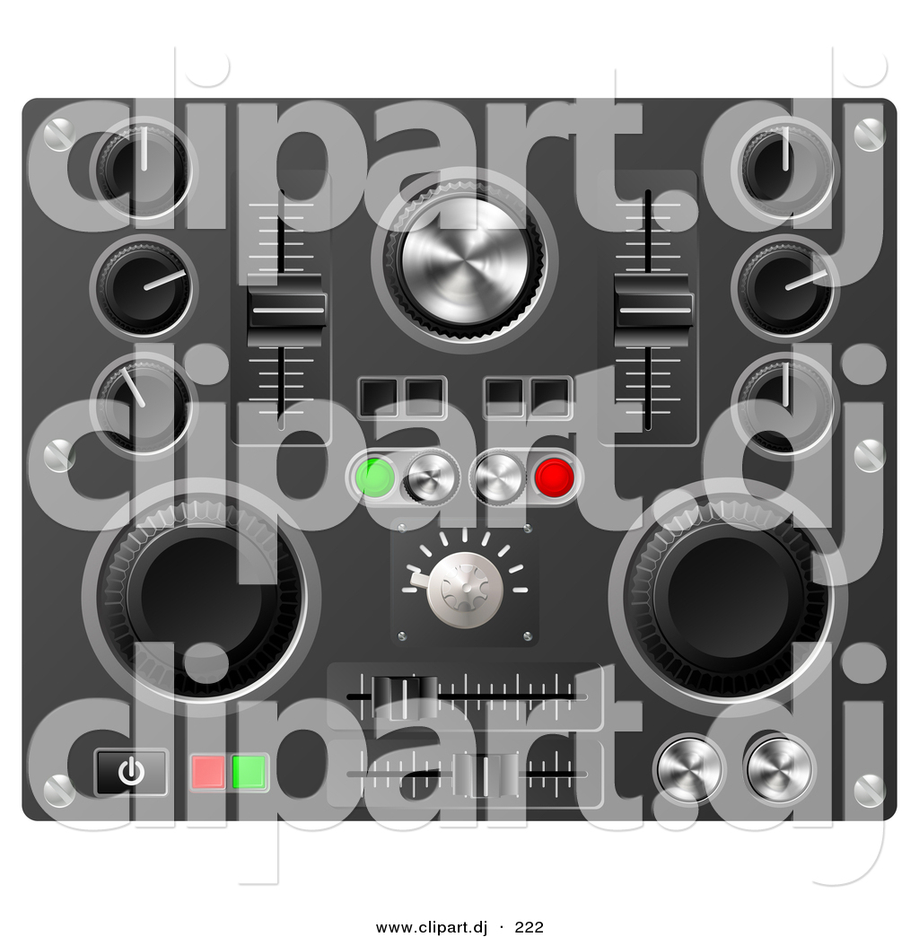 3d Vector Clipart of a Knobs, Switches, and Dials on a Soundboard.