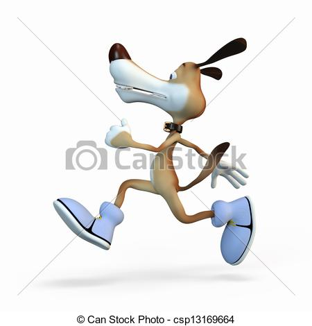 Stock Illustration of The athlete on jog. A sound mind in a sound.