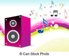 Stock Illustration of abstract musical background with sound box.