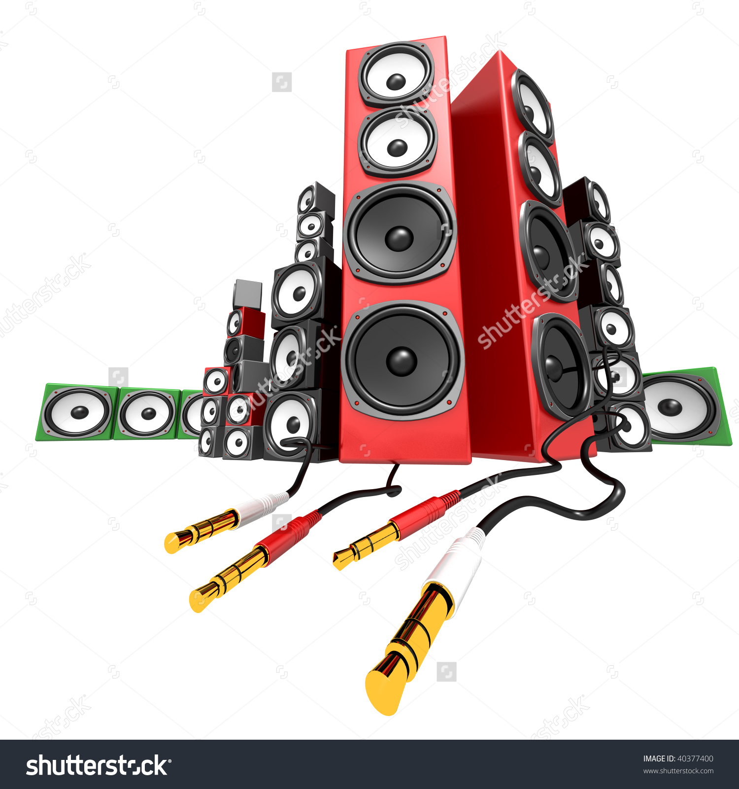 Party Soundbox Audio Collection On White Stock Illustration.