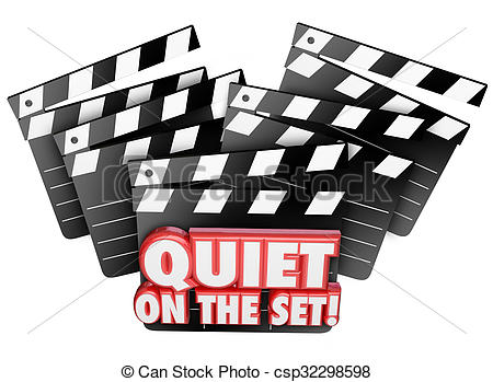 Stock Photographs of Quiet on the Set Movie Film Making Production.