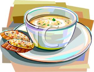 Cup of Soup With Bread.