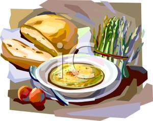 Cream of Asparagus Soup With Bread.