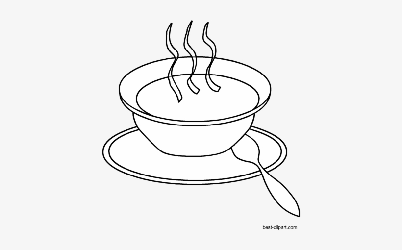 Hot Soup, Black And White Clip Art Free.