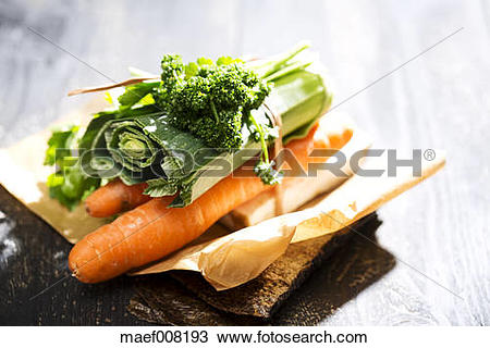 Stock Photo of Soup greens, ingredients for vegetable stock, close.