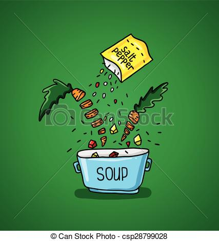 Vector Illustration of big pot of soup with spices and vegetables.